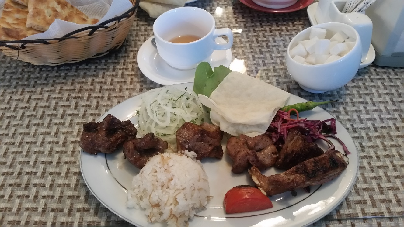 Shashlik! Roast lamb with various fixings. From a restaurant in Bishkek.