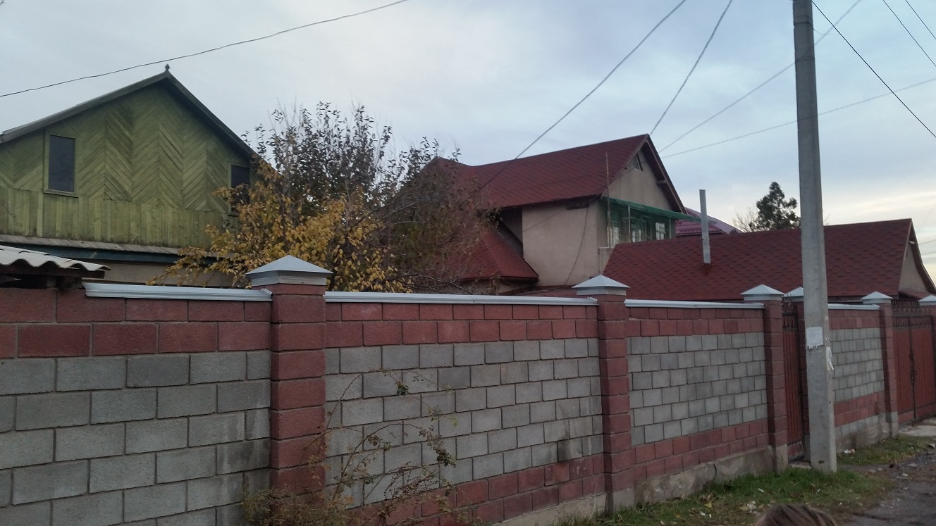 A few colourful Kyrgyz houses. Notice the fancy woodwork